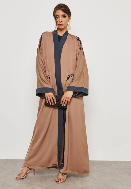 Two Tone Pocket Detail Abaya