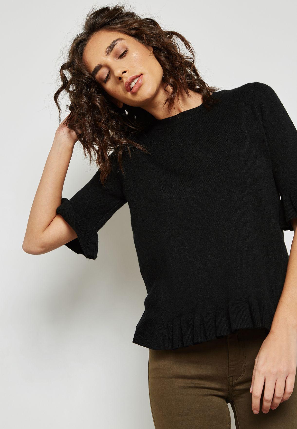 adff1c70025 Shop Ginger black Ruffle Trim Sweater 30096 for Women in UAE ...
