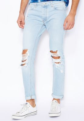 Topman Skinny Fit Light Wash Ripped Jeans