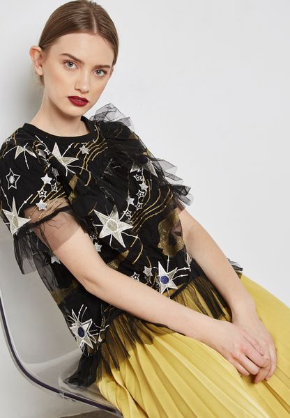 Star Print Sheer Detail T-Shirt