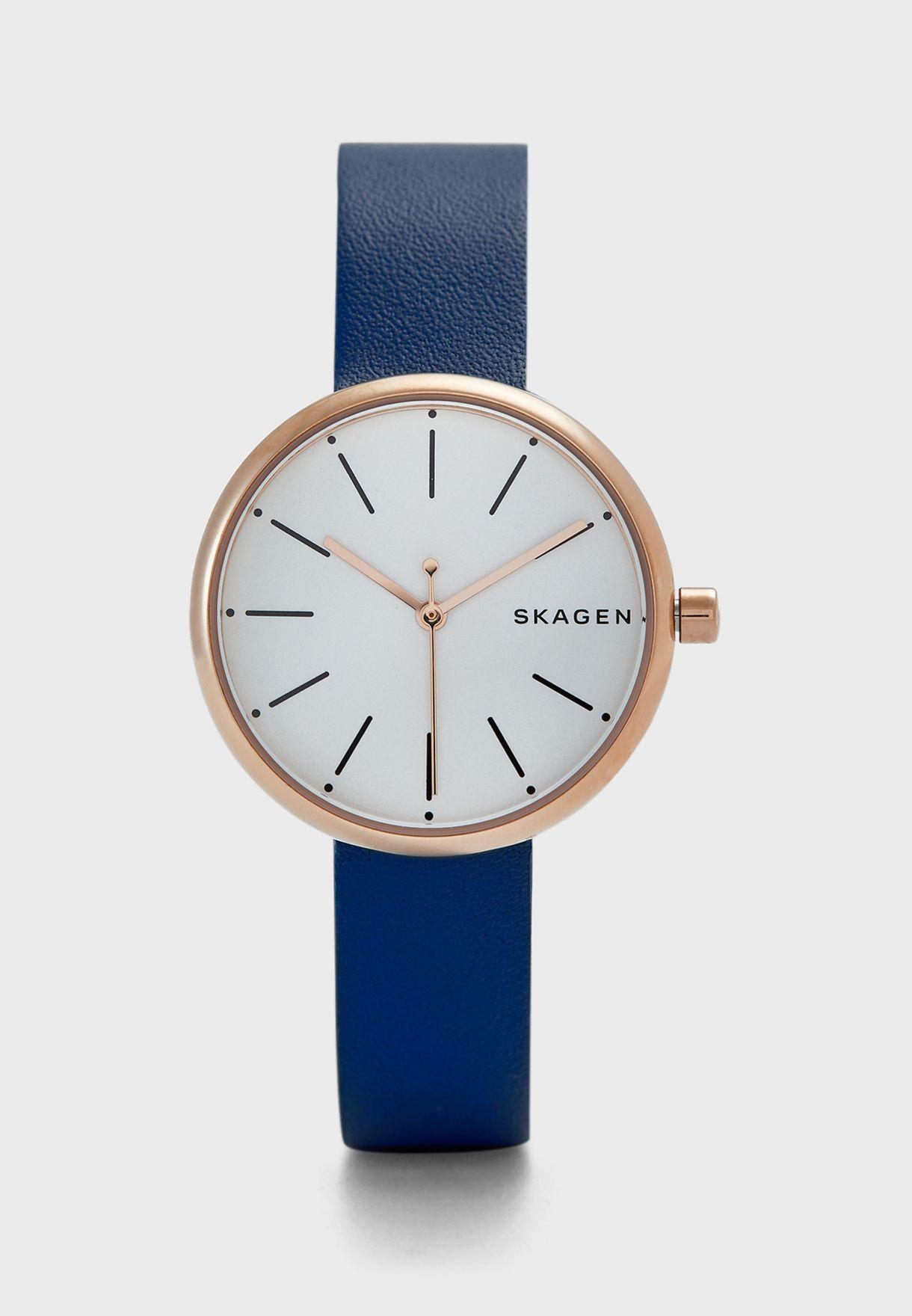 ساعة جلد اصلي بشعار الماركة