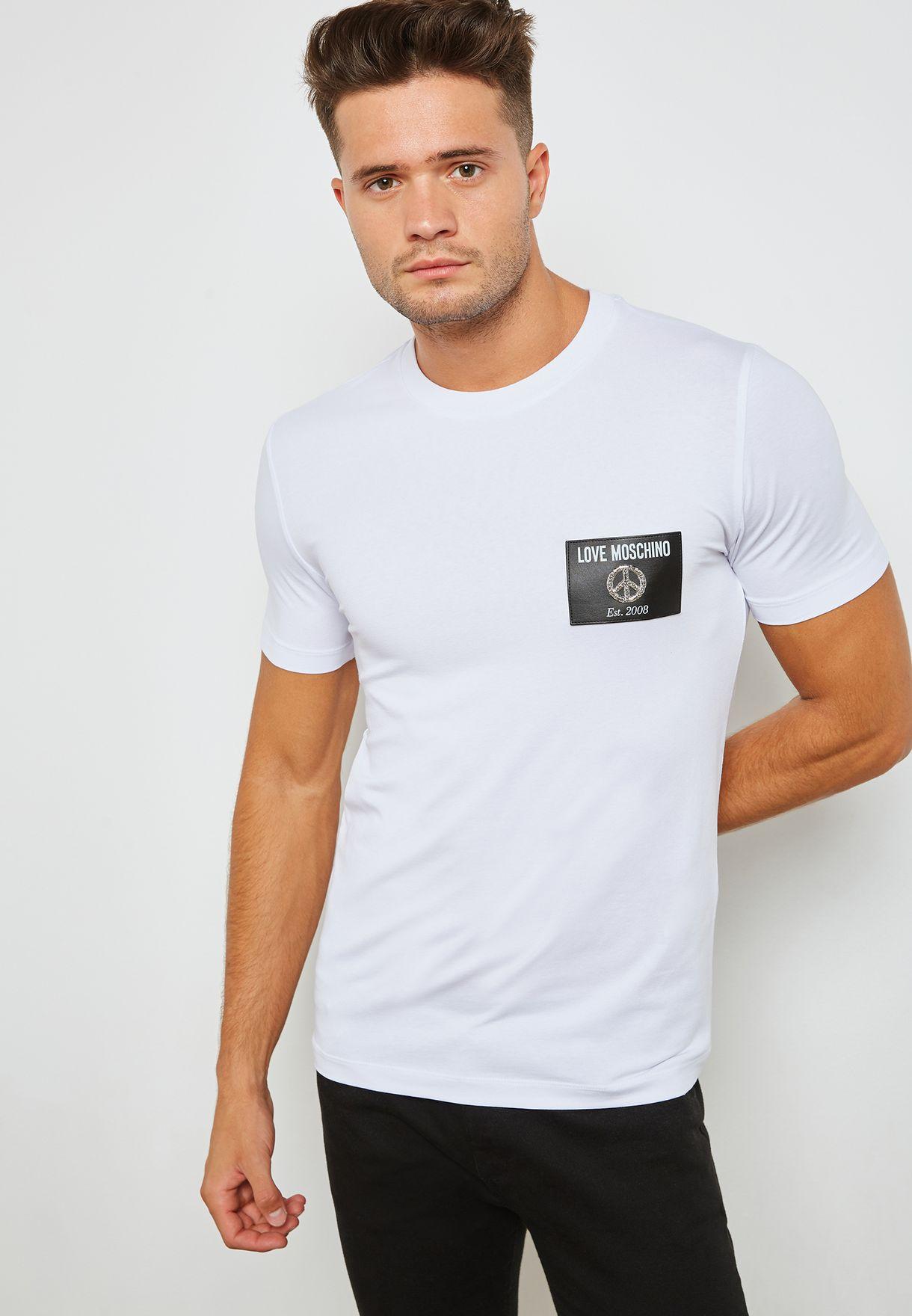 dca0c55c422ab Shop Love Moschino white Badge logo T-shirt M4731 85 E1811 A00 for ...