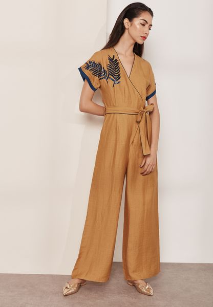 Embroidered Belted Wide Leg Jumpsuit
