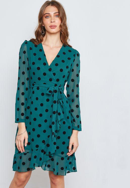 Polka Dot Wrap Front Ruffle Dress