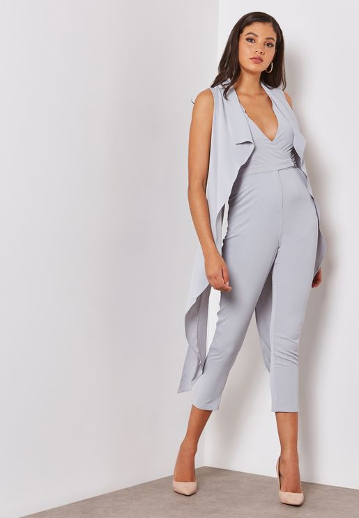 Waterfall Cape Tailored Jumpsuit