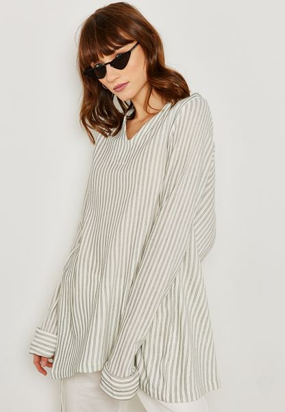 Striped V-Neck Tunic Top