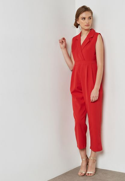 Wrap Front Cropped Jumpsuit