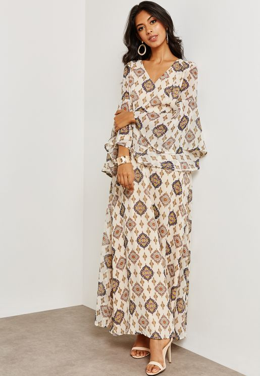 Flute Sleeve Printed Dress