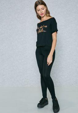 Slogan T-Shirt & Leggings Set