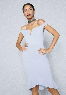 Ruffled Detail Bardot Bodycon Dress