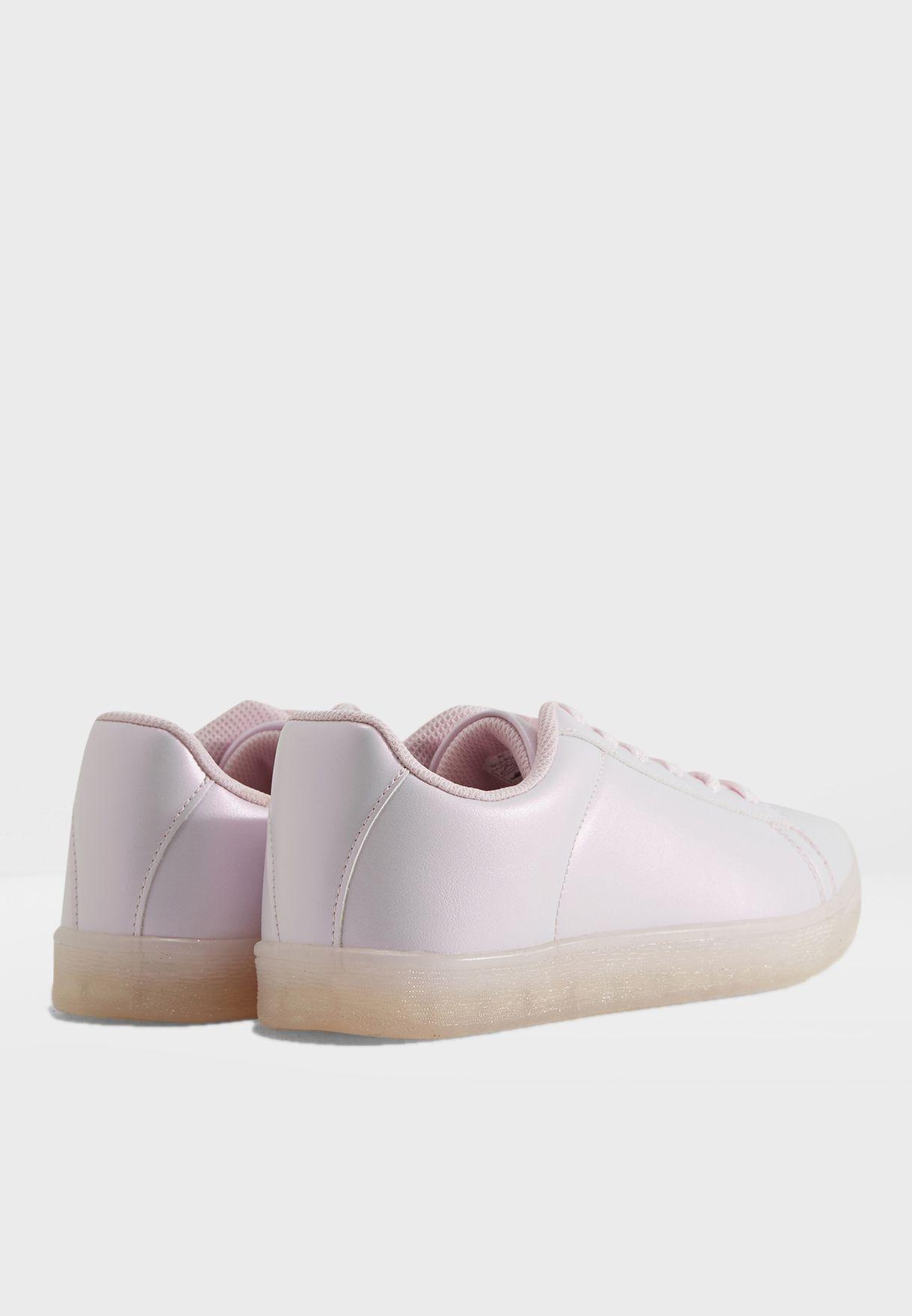 Pearl Finish Glitter Sole Sneaker