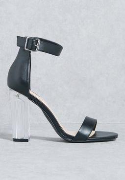 Perspex Block Heel Sandal