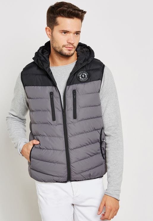 Col Blocked Padded Gilet With Hood