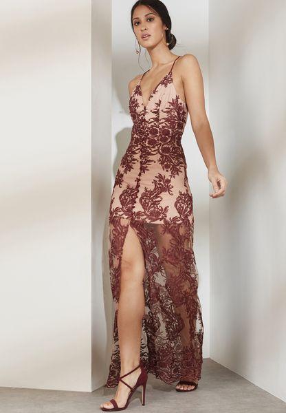 Lace Plunge Maxi Dress