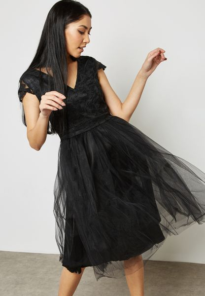 Lace Mesh Detail Dress