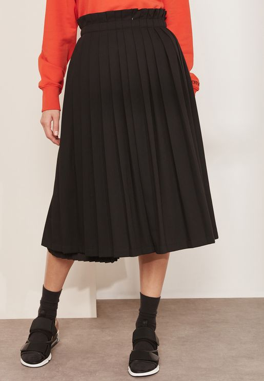 Babele Side Split Pleated Skirt