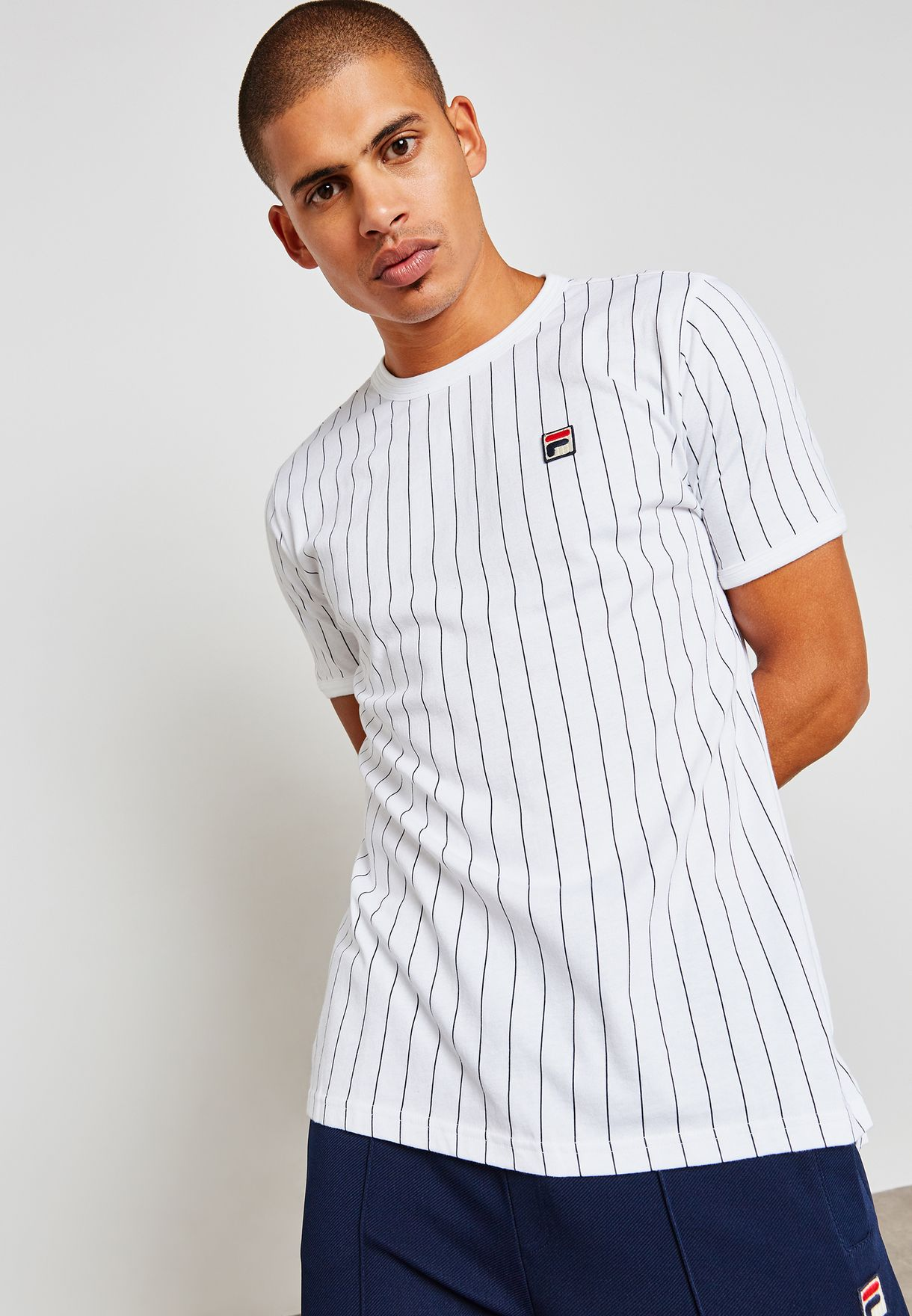 11243ad0a4 Shop Fila prints Guilo Striped T-Shirt LM181L16 for Men in Globally ...
