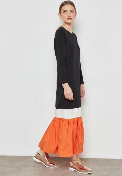 Colourblock Ruffle Hem Dress