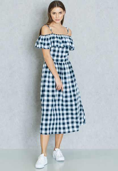 Checked Ruffle Cold Shoulder Dress