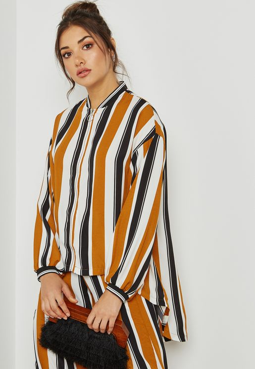 Striped High Low Bomber Shirt