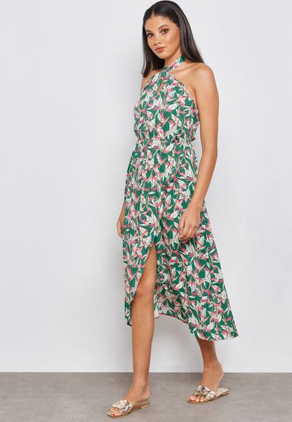 Printed Wrap Front Detail Dress