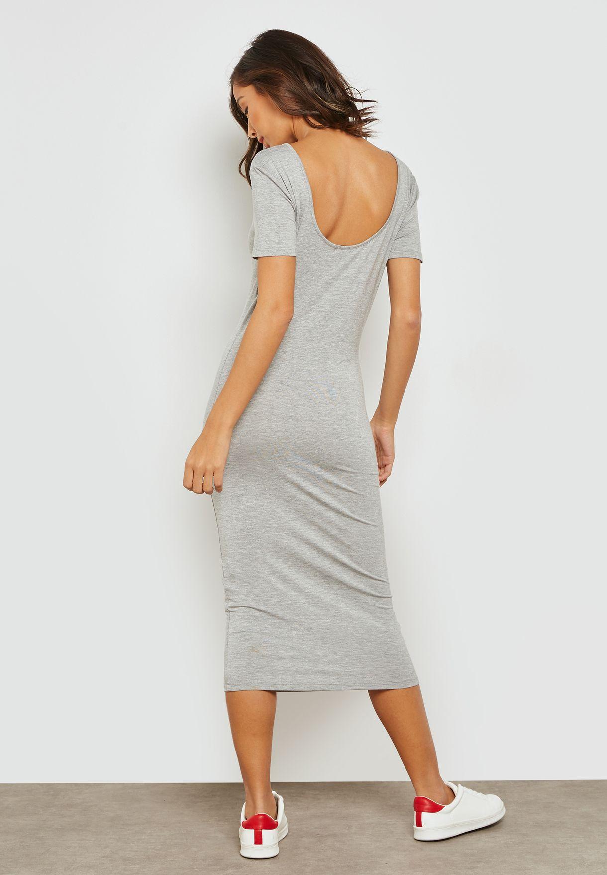 Deep U-Back Midi Dress
