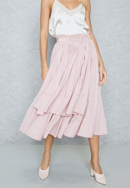 Pleated Detail Maxi Skirt