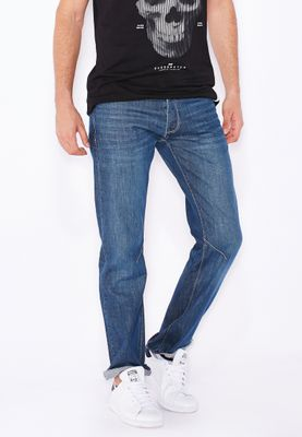 Crosshatch Relaxed Bootcut Light Wash Jeans With Belt