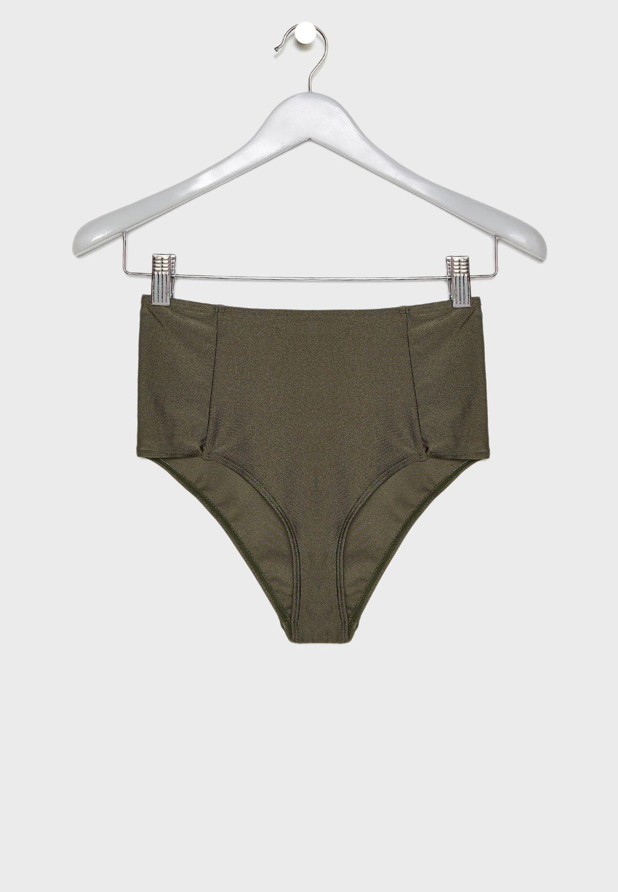90544cb12 Shop Missguided khaki High Waist Bikini Bottom WXL4229879 for Women ...