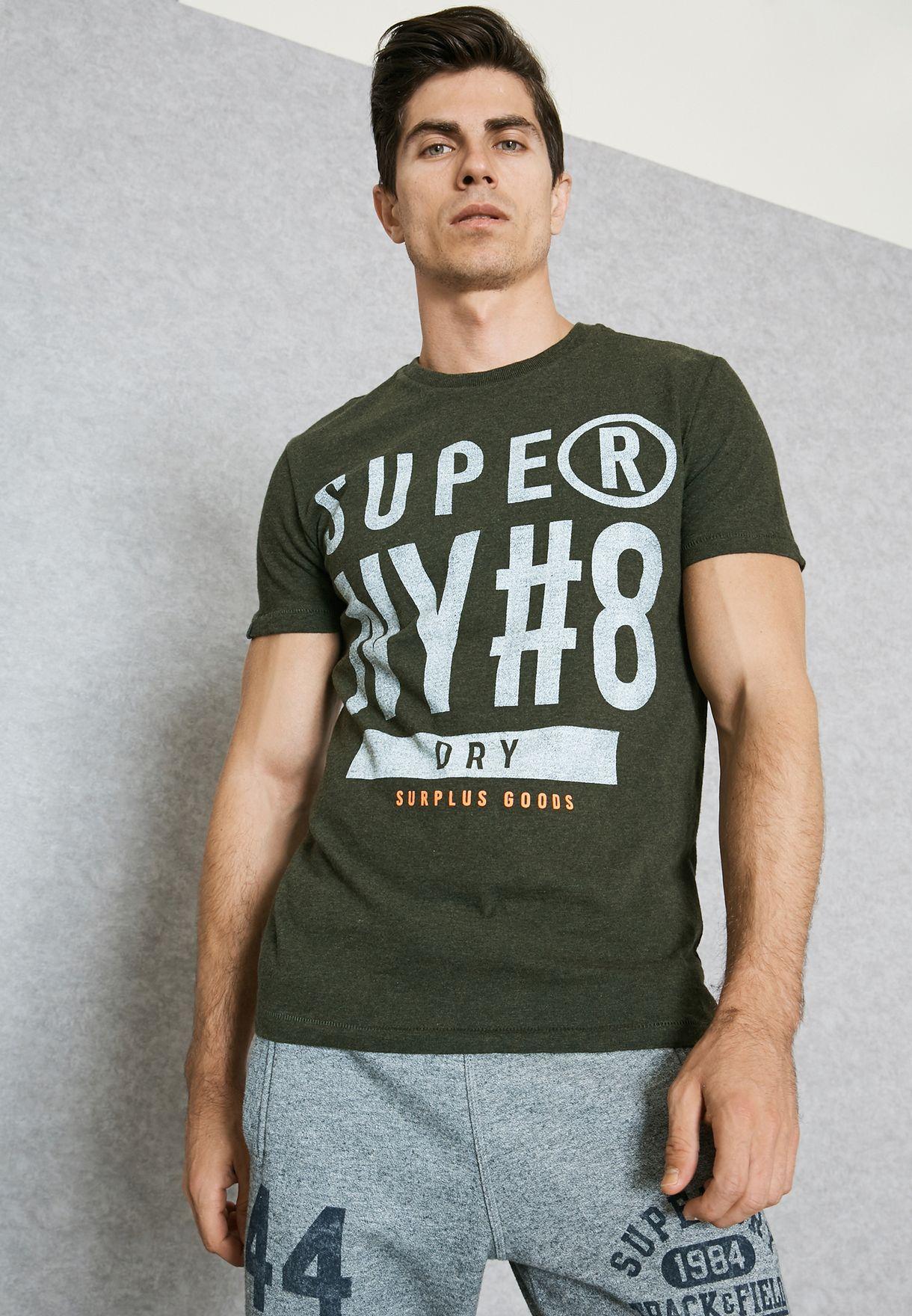 07cd0cb7 Shop Superdry green Surplus Goods Graphic T-Shirt M10008TOF1 for Men ...