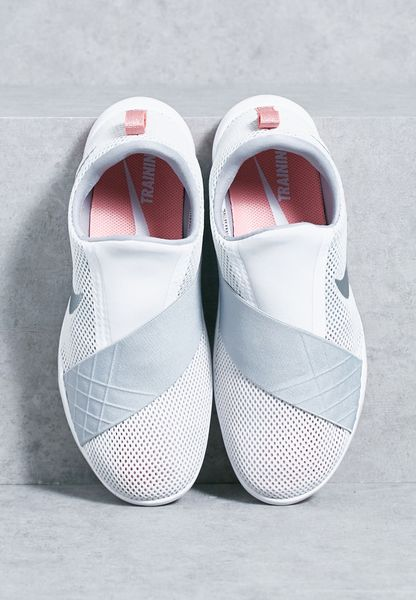 All White Nike Shoes With Web Pattern