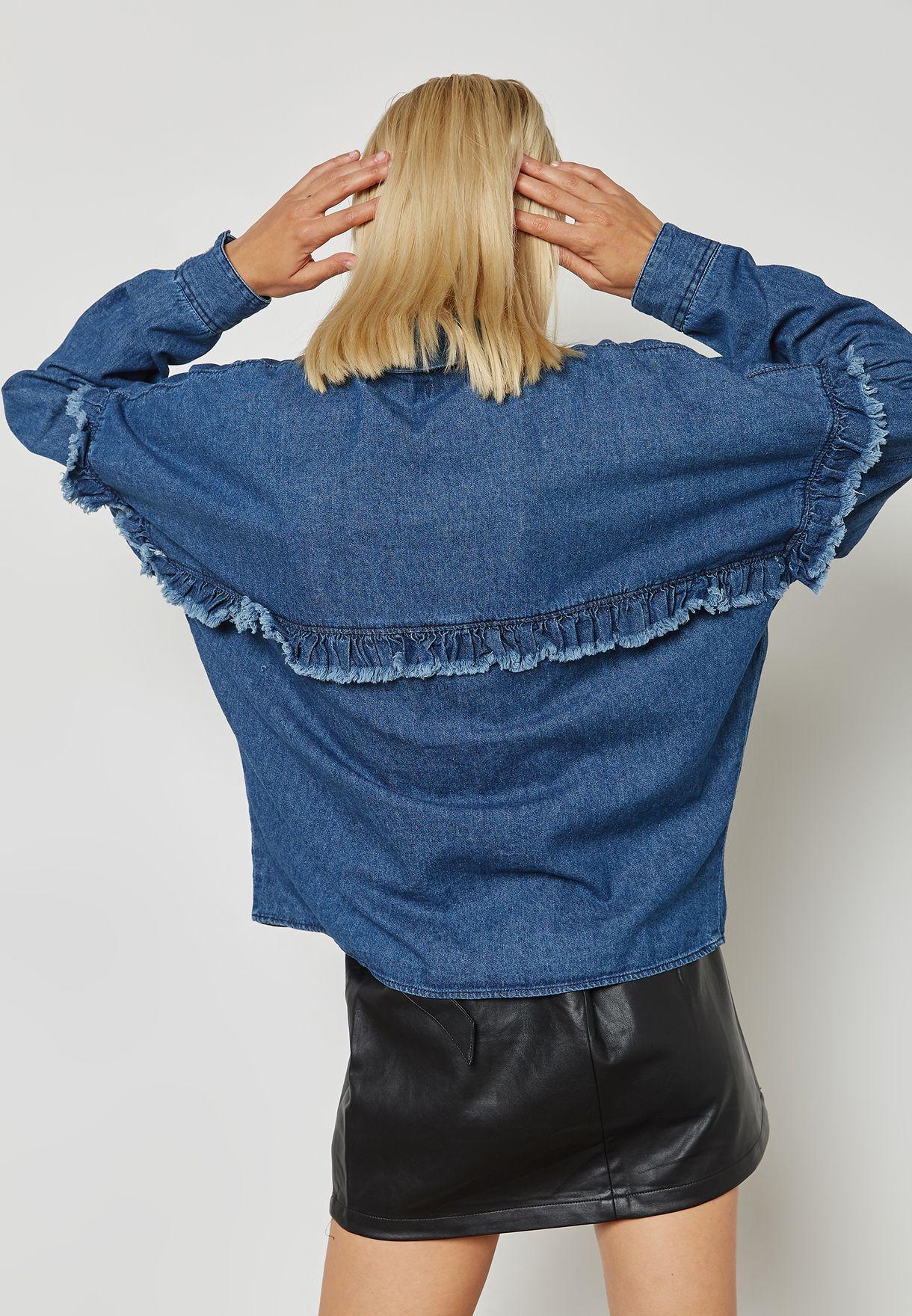 Frill Detail Denim Shirt