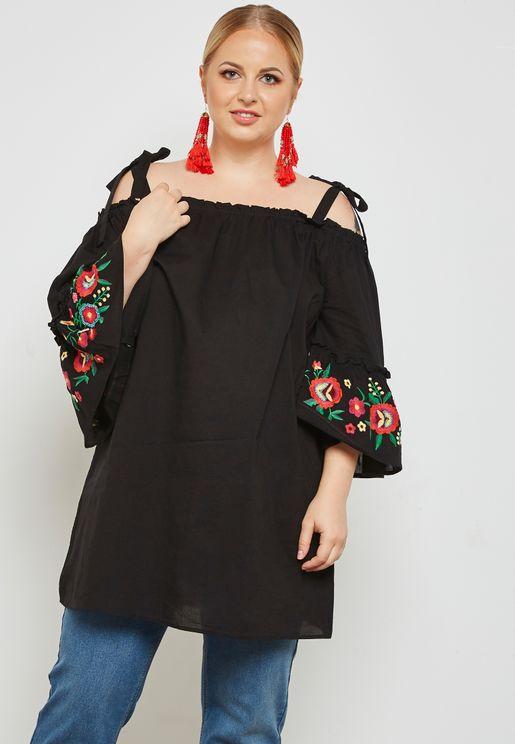 Embroidered Sleeve Cold Shoulder Top