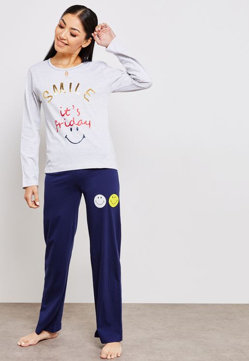 Crew Neck Slogan Top Pyjama Set