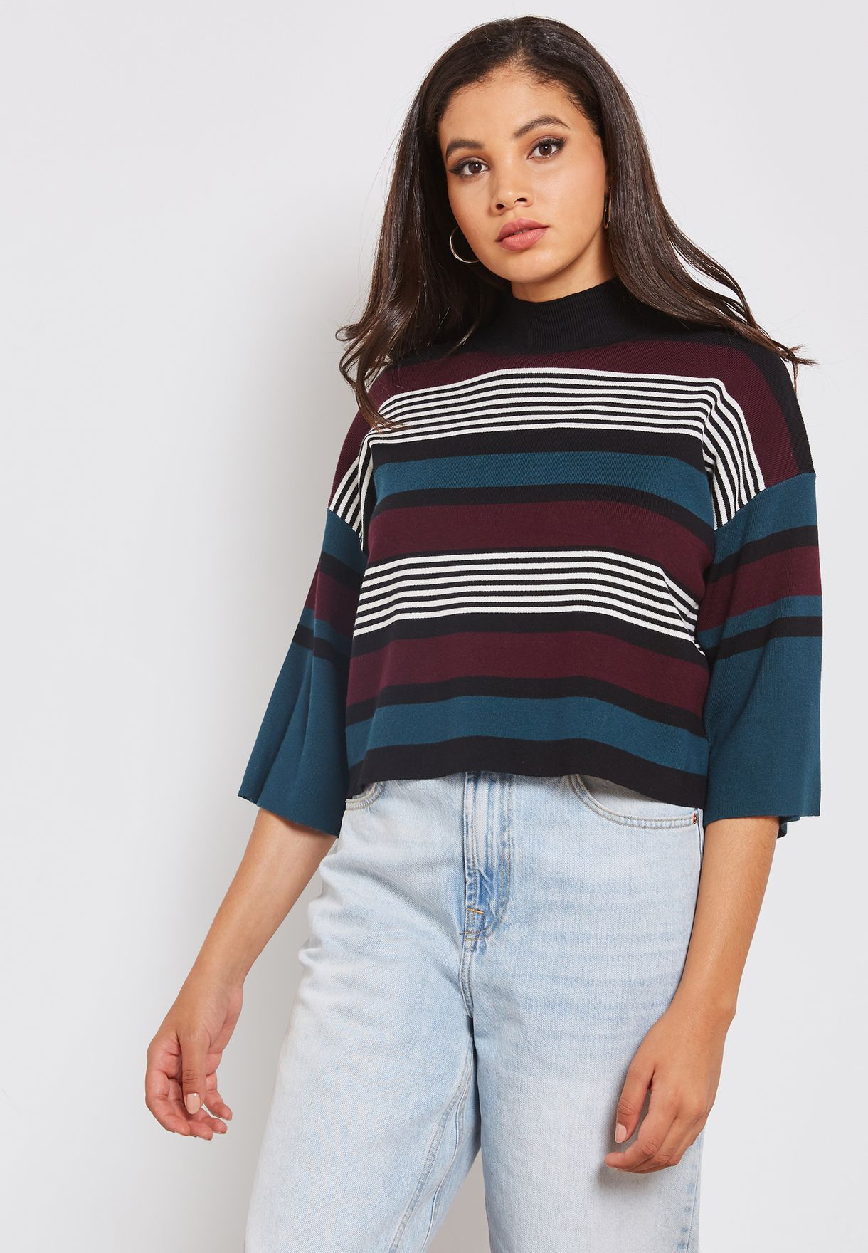 11e22861bb3 Shop Native youth multicolor High Neck Cropped Striped Sweater ...