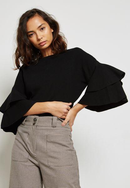 Frill Overlay Sleeve Sweater