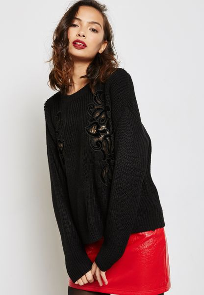 Velvet Patch Ribbed Sweater