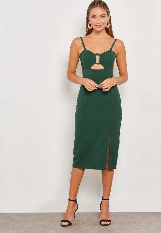 Cut Out Bodycon Midi Dress
