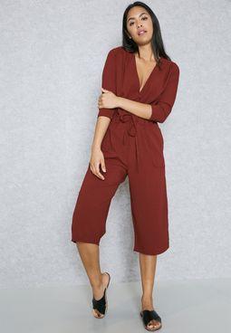 Wrap Front Drawstring Culotte Jumpsuit