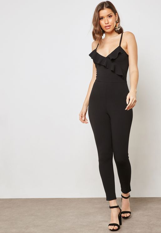 Wrap Front Ruffle Cami Jumpsuit