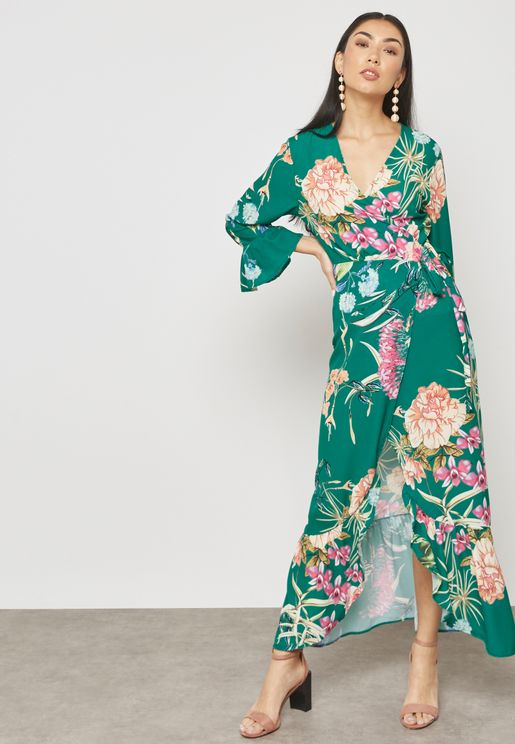 Floral Print Wrap Front Ruffle Maxi Dress