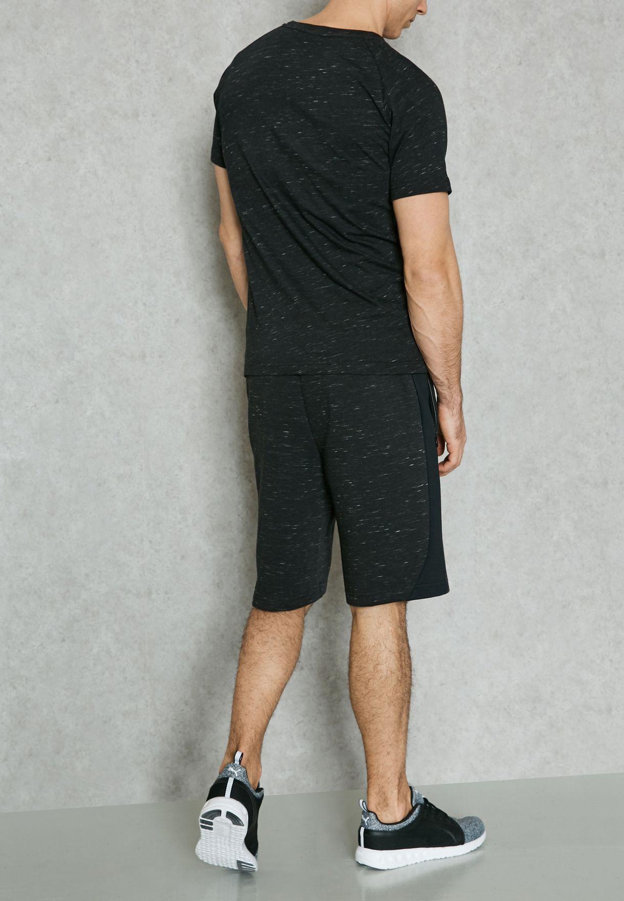 2a076bb15f4f Shop PUMA black Evostripe Spaceknit Shorts 59062901 for Men in Qatar ...
