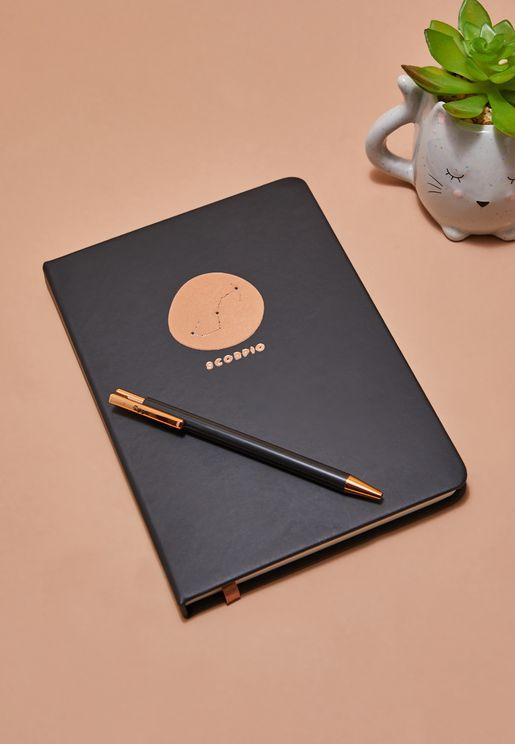 مجموعة دفتر ملاحظات برج العقرب مع قلم