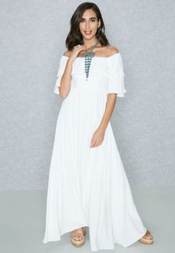 Tiered Puffed Bardot Dress