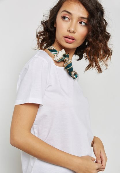 Bow Cut Out Neck T-Shirt