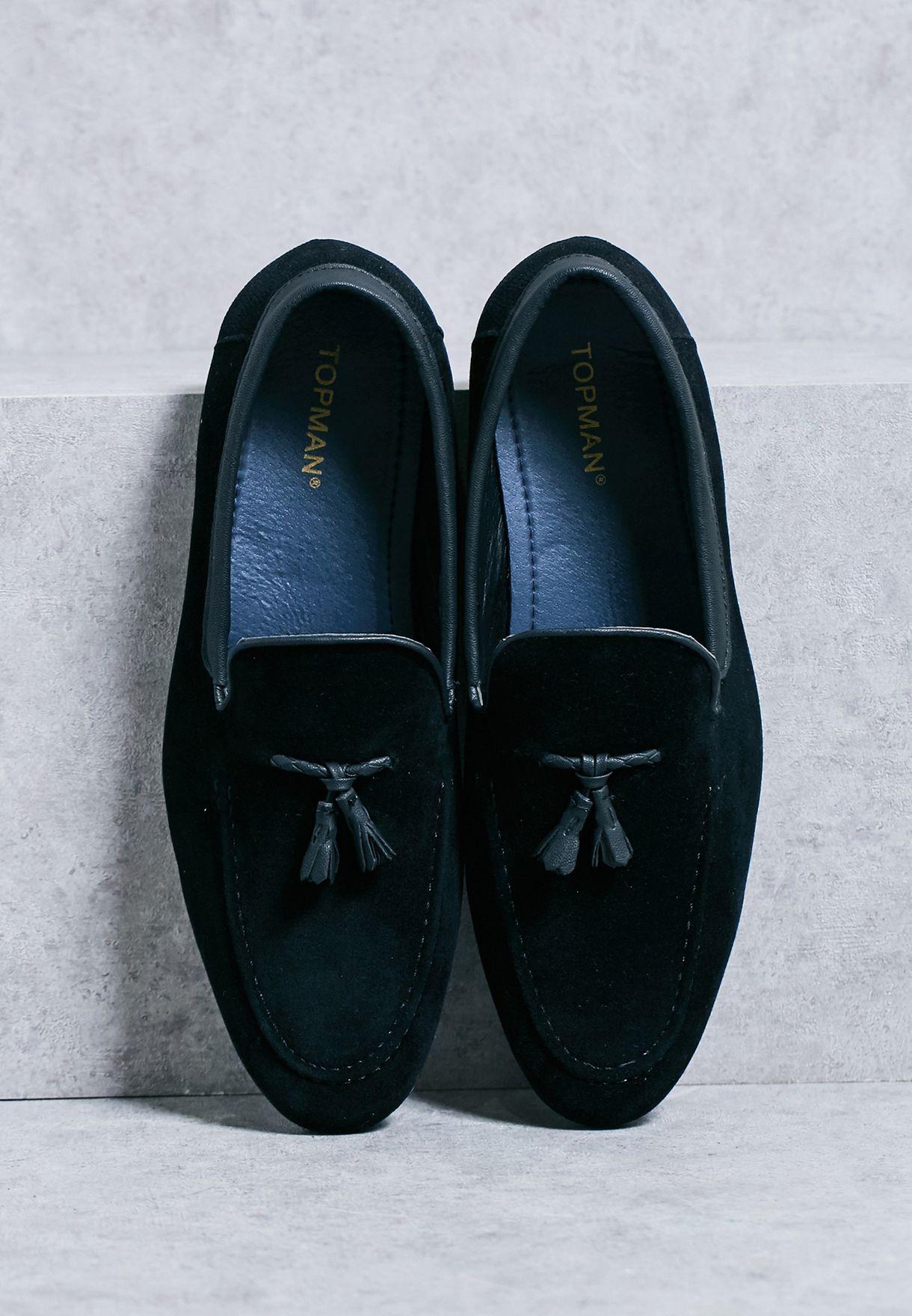 1803fb9c9cd Shop Topman black Faux Suede Tassel Loafers for Men in UAE ...