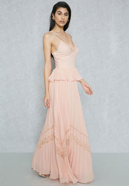 Strappy Plunge Pleated Maxi Dress