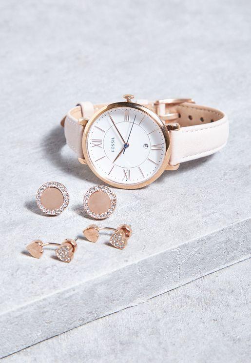 طقم ساعة جلد اصلي + اقراط