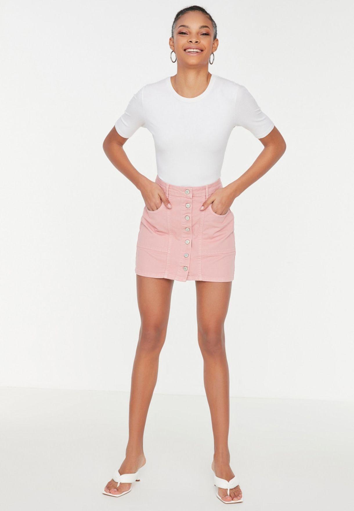 Buttoned Detail Mini Denim Skirt