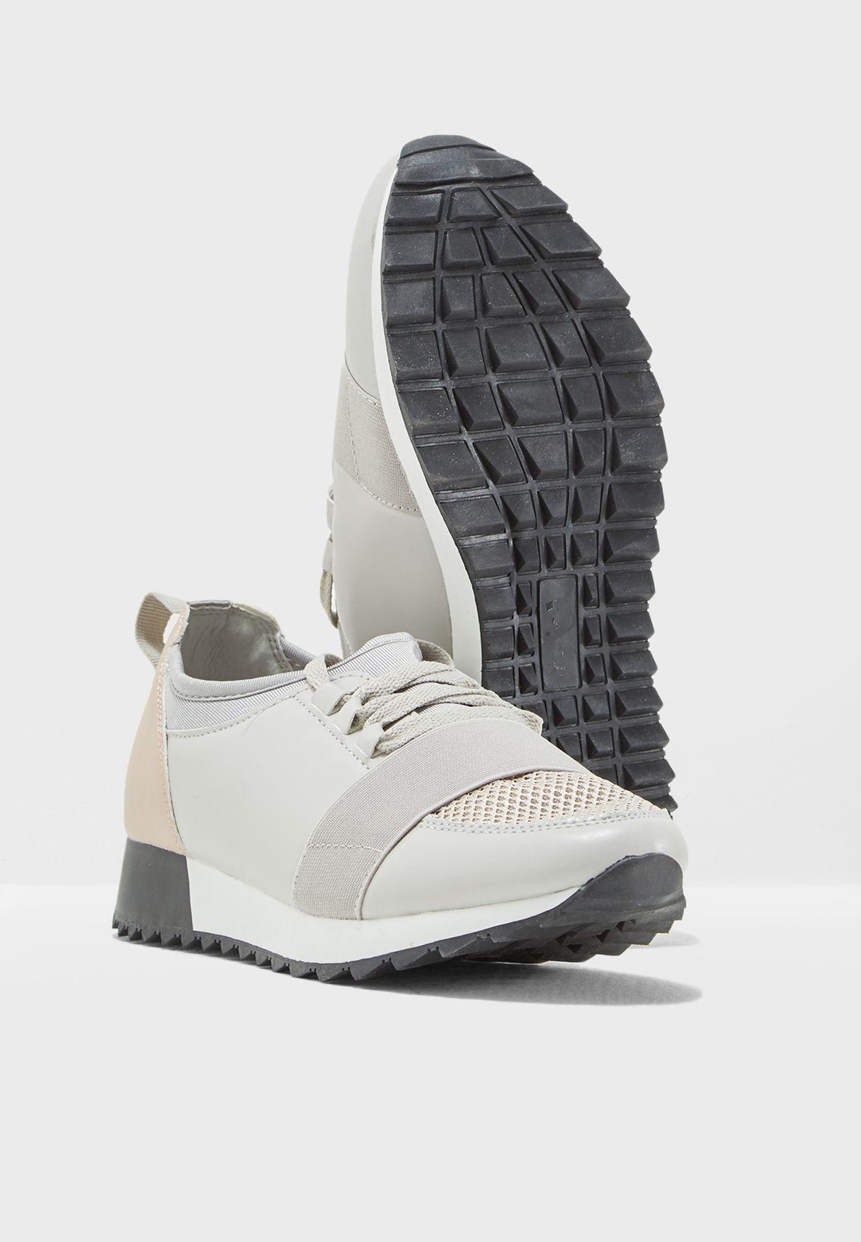 Colourblock Elastic Strap Sneakers